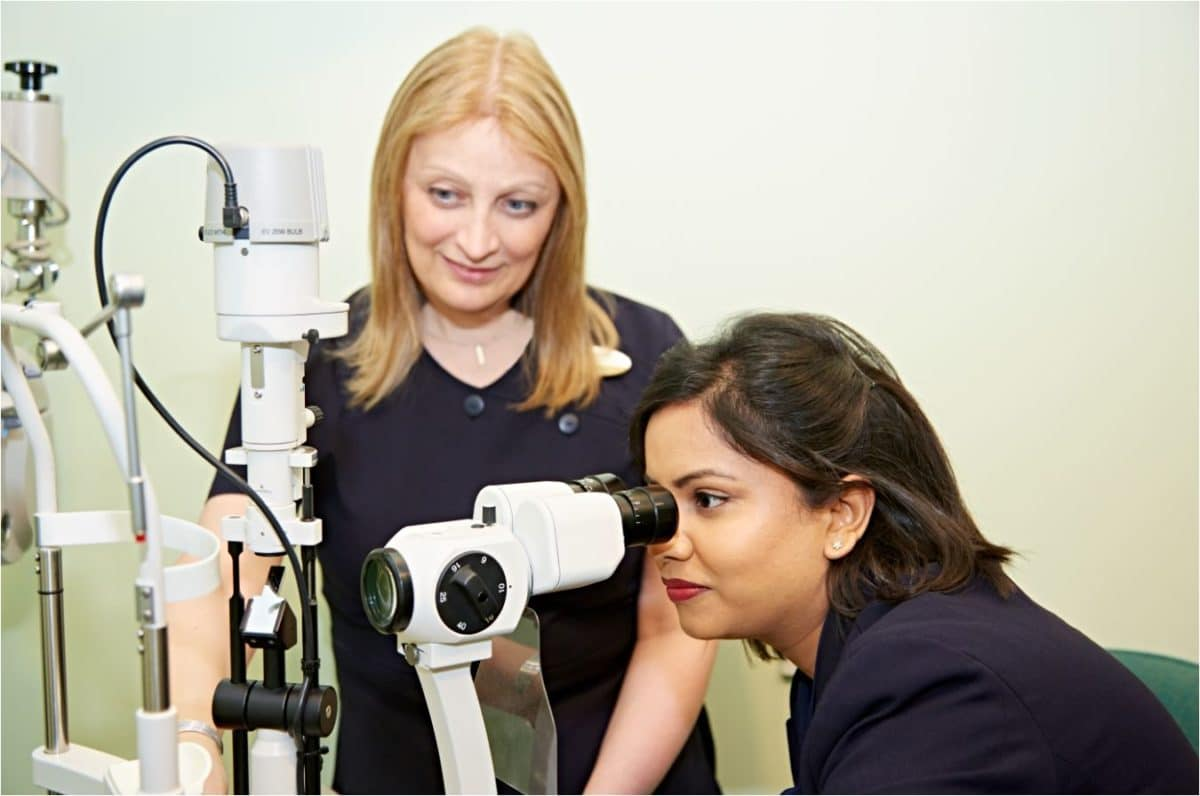 Specsavers pre-registration optometrist and her and supervisor